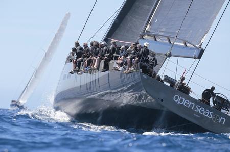 Palma de Majorca, SPAIN - May 4, 2017 - Wally class sailing watercrafts compete during the first leg of the Palmavela regatta in the Spanish Balearic island of Majorca.