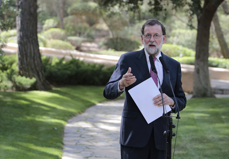 Palma de Mallorca, Spain - August 7th, 2017 - Spains Prime Minister Mariano Rajoy gestures during his media comference after his traditional summer meeting at Marivent Palace in Palma, on the Spanish island of Mallorca.