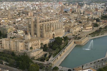 Palma de Mallorca, Spain -      - Palma de Mallorca city aerial view in the Spanish island of Mallorca Editorial