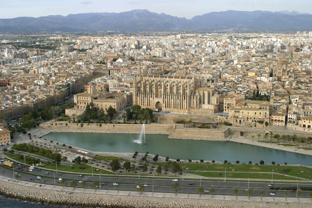 Palma de Mallorca , Spain - January 30, 2004 - Aerial view of the city of Palma with Cathedral on first term Editorial