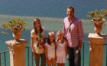 Raixa Mallorca, Spain - August 11, 2014 - Spain Royal Family King Felipe Queen Letizia and Princesses Leonor and Sofia pose as they visit Raixa Palace in the Spanish Balearic island of Mallorca Editorial