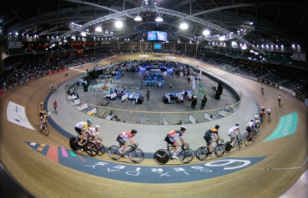 Palma de Mallorca, Spain - April 14, 2018 - Cyclists ride during their final race at the Sixday cycling event finals in Palma, on the Spanish island of Mallorca. 에디토리얼