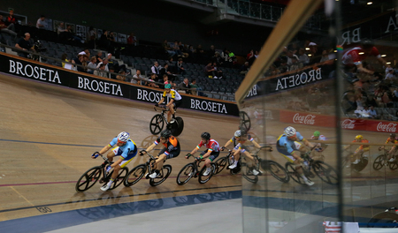 Palma de Mallorca, Spain - April 14, 2018 - Cyclists ride during their final race at the Sixday cycling event finals in Palma, on the Spanish island of Mallorca. Editorial
