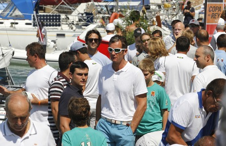 Palma de Mallorca, Spain - August 1, 2011 - Inaki Urdangarin son in law of King Juan Carlos gestures as he watch the copa del rey regatta with his son Juan Valentin and nephew Froilan in Palma de Mallorca bay. Editorial