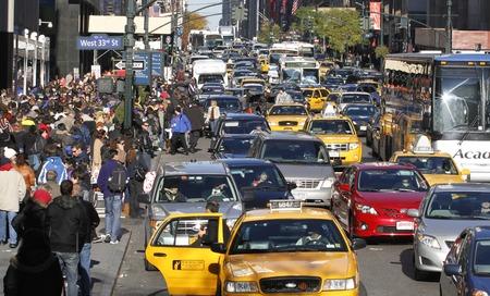 New York / USA - November 24, 2011 - Heavy traffic in downtown new york