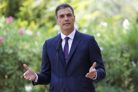 Palma de Mallorca  Spain - August 6, 2018 - Pedro Sanchez Spanish Prime minister speeches in Marivent palace gardens