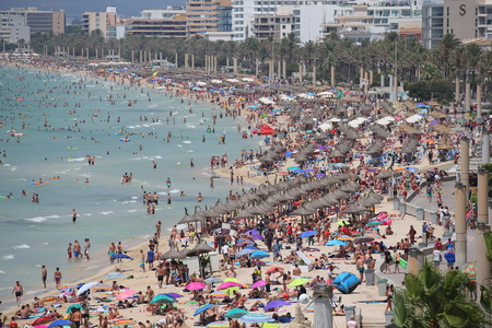 El Arenal Mallorca  Spain - August 11, 2018 - General view over the touristic beach of El Arenal in the Spanish island of Mallorca.
