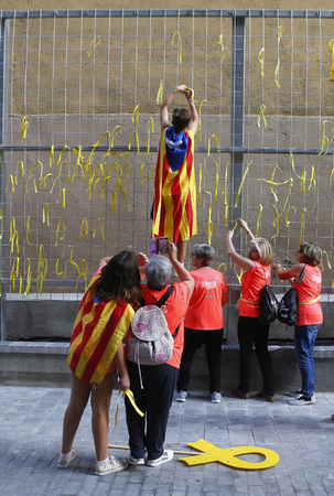 Barcelona  Spain - September 11, 2018 - Citizens coming from all around Catalonia celebrate in Barcelona their Diada, a yearly Catalan Nationalism celebration that actually demands the liberation of the jailed Catalan government politicians that promoted