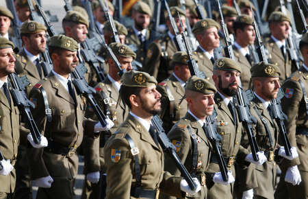 Palma de Mallorca / Spain - December 8,2018: Spanish troops march during the parade to commemorate on December 8th the patron of Spain Army the Virgin of Immaculada
