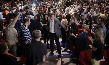 Palma de Mallorca, Spain -  December 4, 2015 - Ciudadanos political party leader Albert Rivera, one of the four leading candidates for Spains national election, gestures during his speech on an election campaign rally in Palma