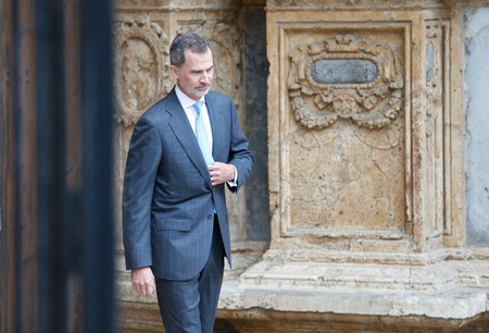 Palma de Mallorca, Spain - April 21 2019: Spanish Royal family members arrive to Palma de Mallorca Cathedral to attend an easter sunday mass.