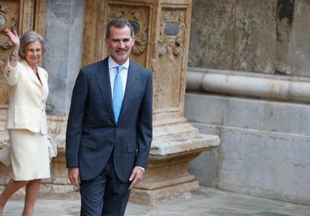Palma de Mallorca, Spain - April 21 2019: The King of spain King Felipe  leave Palma de Mallorca Cathedral after attending an easter sunday mass.