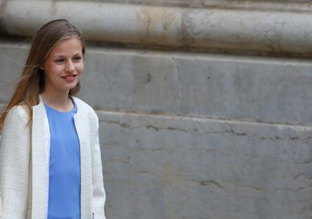 Palma de Mallorca, Spain - April 21 2019: Spanish Princess Leonor leave Palma de Mallorca Cathedral after attending an easter sunday mass.