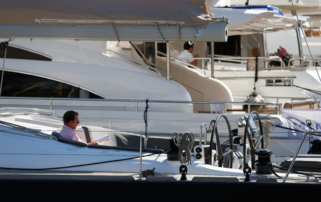 Palma de Mallorca  Spain - Aprill 30 2019: General view on ships moored during the 50th Palma Boatshow in palma de mallorca seaport. Editorial