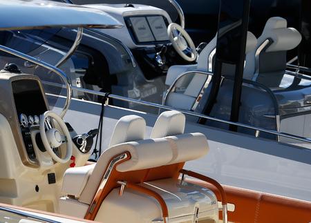 Palma de Mallorca / Spain - Aprill 30 2019: General view on ships moored during the 50th Palma Boatshow in palma de mallorca seaport.