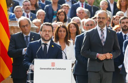 Barcelona/Spain - October 1 2019 -The Vicepresident of Catalonia Pere Aragones  gestures next to other members of the Catalan government during his speech before receiving the sentence of the Spanish court against the Catalan politics in jail since 2017 f Éditoriale