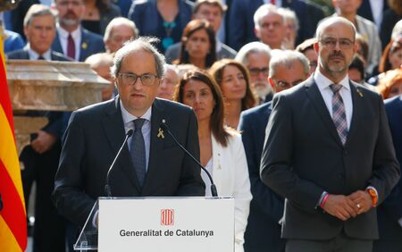 Barcelona/Spain - October 1 2019 -The president of Catalonia Quim Torra gestures during his speech before receiving the sentence of the Spanish court against the Catalan politics in jail since 2017 for the declaration of independence of Catalonia and the  Éditoriale