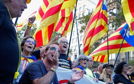 Barcelona/Spain - October 14 2019 - Seniors protest during a demonstration in Barcelona against the sentence of the Spanish court to keep in jail the Catalan politicians since October 2017 after the banned separatist referendum and declaration of independ