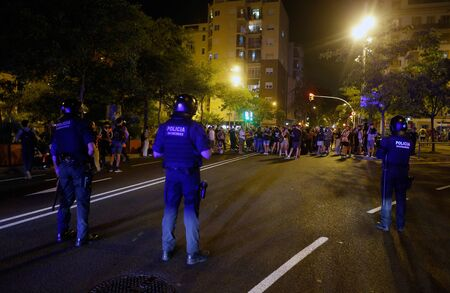 Barcelona/Spain - October 14 2019 - Demonstrators take the streets of Barcelona against the sentence of the Spanish court to keep in jail the Catalan politicians since October 2017 after the banned separatist referendum and declaration of independence of