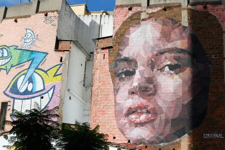 Barcelona/Spain - October 14 2019 - a Giant Graffiti on an old building walls in central Barcelona Éditoriale