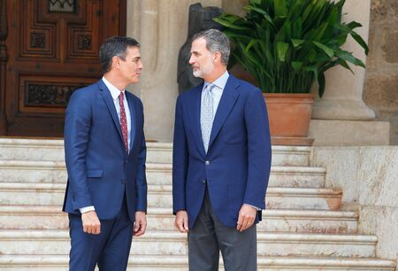 Palma de Mallorca / Spain - August 7, 2019: Spain King Felipe and Prime minister Pedro Sanchez meet for their traditional summer meeting in Marivent Palace in the island of Mallorca