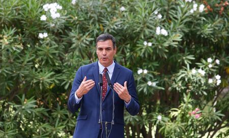 Palma de Mallorca / Spain - August 7, 2019: Spain Prime minister Pedro Sanchez speaks to media after his traditional summer meeting with King Felipe in Marivent Palace in the island of Mallorca