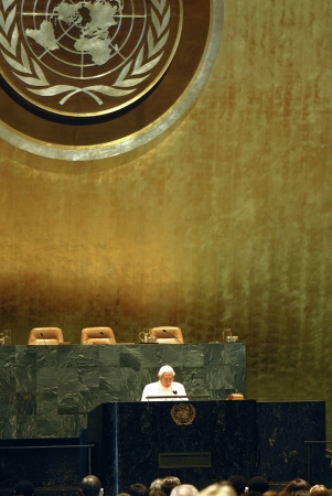 Pope Benedict XVI come to UN giving a speech