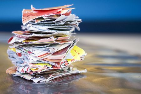 scrapped: An ordered stack of scrapped paper Stock Photo