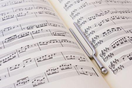 tuning fork: Sheet music and diapason Stock Photo