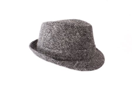 tweed: A stylish tweed hat made of wool Stock Photo