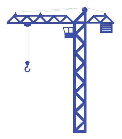 Silhouette of a crane a crane. Industrial equipment. Flat design. Isolated on a white background