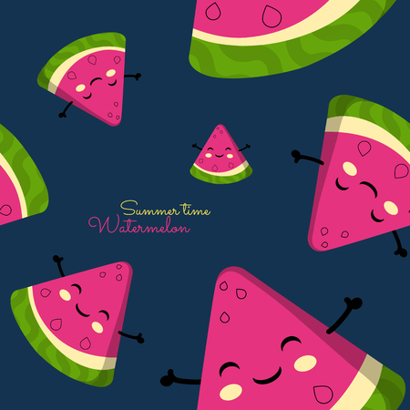 A slices of watermelon with happy faces. Seamless pattern. Blue backgroung. Vector illustration