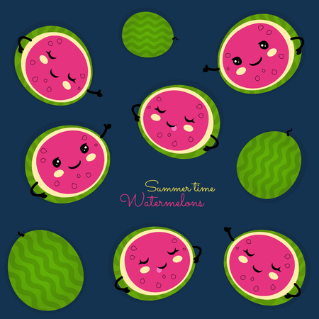Watermelons seamless pattern with happy faces on dark blue color background. Vector illustration. Summer time