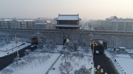 Xuanhua Ancient City After Snow Scene