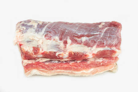 piece of fat pork ribs, raw meat, isolated on white