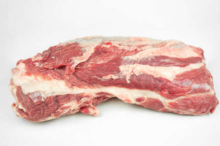large piece of fat pork fillet, raw meat, isolated on white