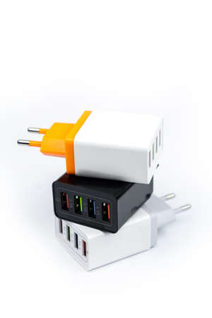 Adapter charger with multiport USB ports isolated on white background