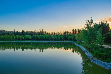 Evening wetland reflection landscape Stock Photo