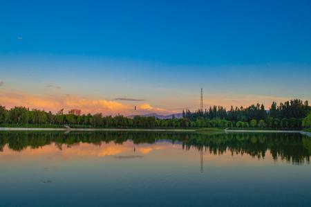 Evening wetland reflection landscape Editorial