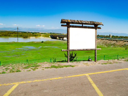 Blank billboard in the wetland Stock Photo