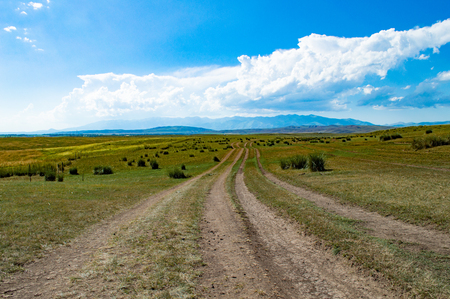 Grassland tire print under blue sky and white clouds