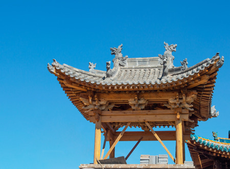 Traditional Chinese building under construction