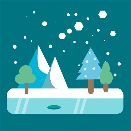 Winter snowy mountain forest landscape flat illustration Illustration