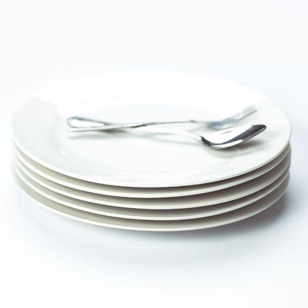 stack of white plates Stock Photo - 7290632