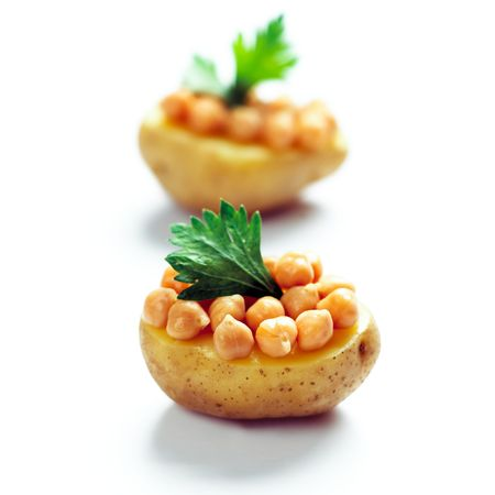 baked beans: baked potatoes