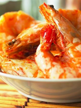 asian spicy prawns        photo