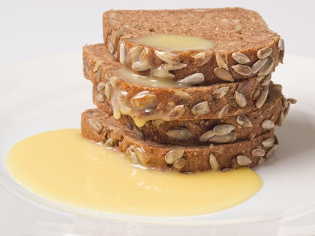 condensed: brown bread with condensed milk Stock Photo
