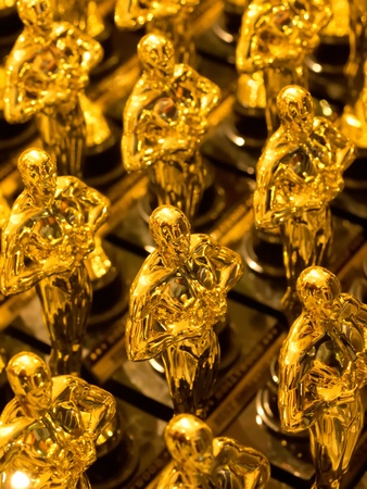 array of golden statues Stock Photo
