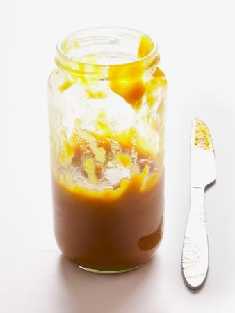 kaya: close up of a bottle of asian kaya egg jam Stock Photo