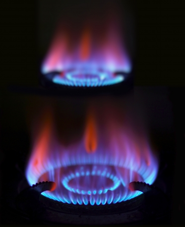 close up of blue gas flames